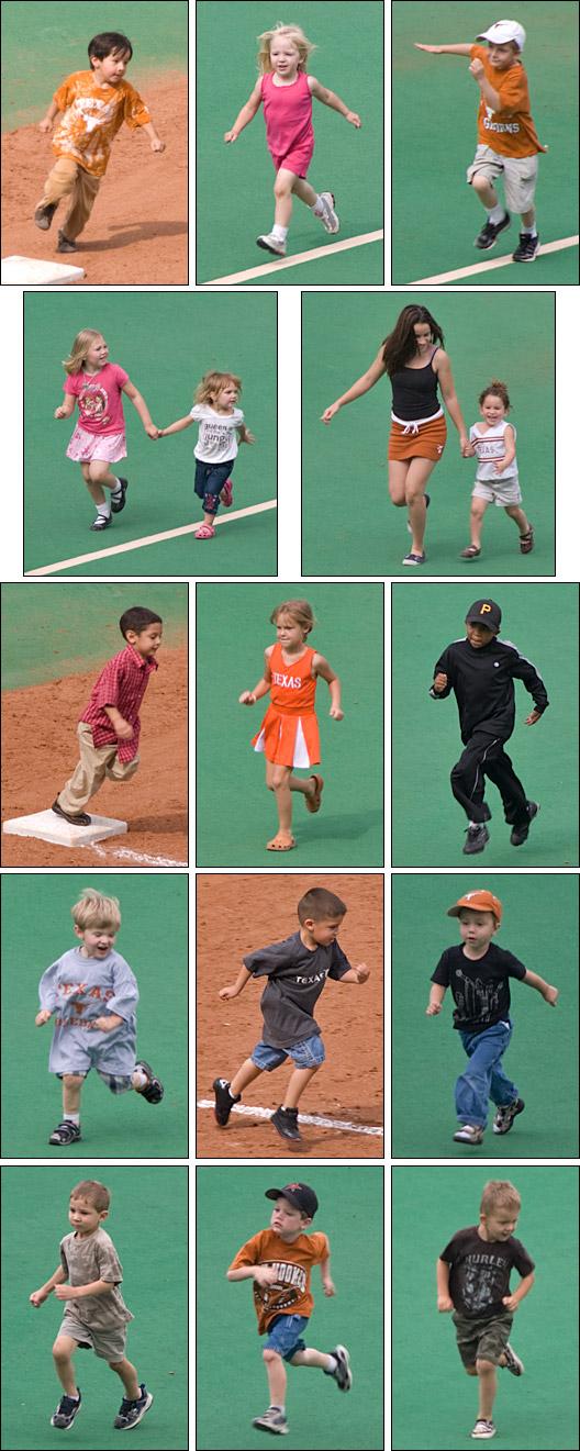 [Kids running the bases]